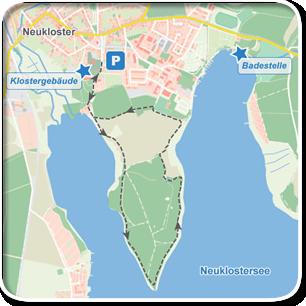 """Kartenskizze zur Tour """"Über die Halbinsel des Neuklostersees""""©Tourenskizzen = Kartengrundlage © Hansestadt Rostock (cc BY 3.0), Kartendaten © OpenstreetMap (ODbL und uVGB-MV) Tourendaten = Traumziel-MV.de"""