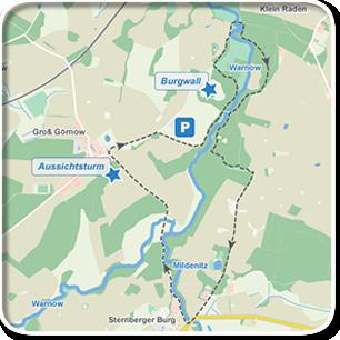 """Tourenskizze zur Tour """"Warnowdurchbruchstal""""©Tourenskizzen = Kartengrundlage © Hansestadt Rostock (cc BY 3.0), Kartendaten © OpenstreetMap (ODbL und uVGB-MV) Tourendaten = Traumziel-MV.de"""