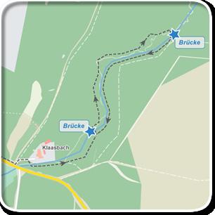 """Tourenskizze zur Tour """"Durch das Klaasbachtal""""©Tourenskizzen = Kartengrundlage © Hansestadt Rostock (cc BY 3.0), Kartendaten © OpenstreetMap (ODbL und uVGB-MV) Tourendaten = Traumziel-MV.de"""