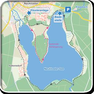 """Tourenskizze zur Tour """"Um den Neuklostersee""""©Tourenskizzen = Kartengrundlage © Hansestadt Rostock (cc BY 3.0), Kartendaten © OpenstreetMap (ODbL und uVGB-MV) Tourendaten = Traumziel-MV.de"""